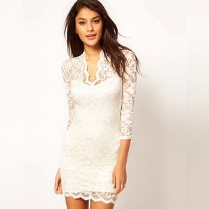 ASOS Lace Scalloped Dress - cream